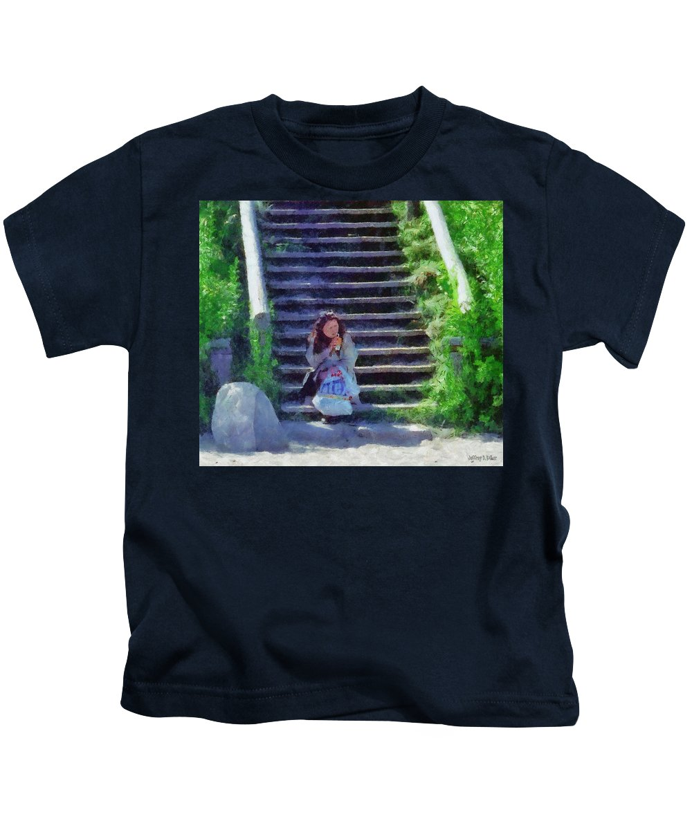 Woman Kids T-Shirt featuring the painting Patiently Waiting by Jeffrey Kolker