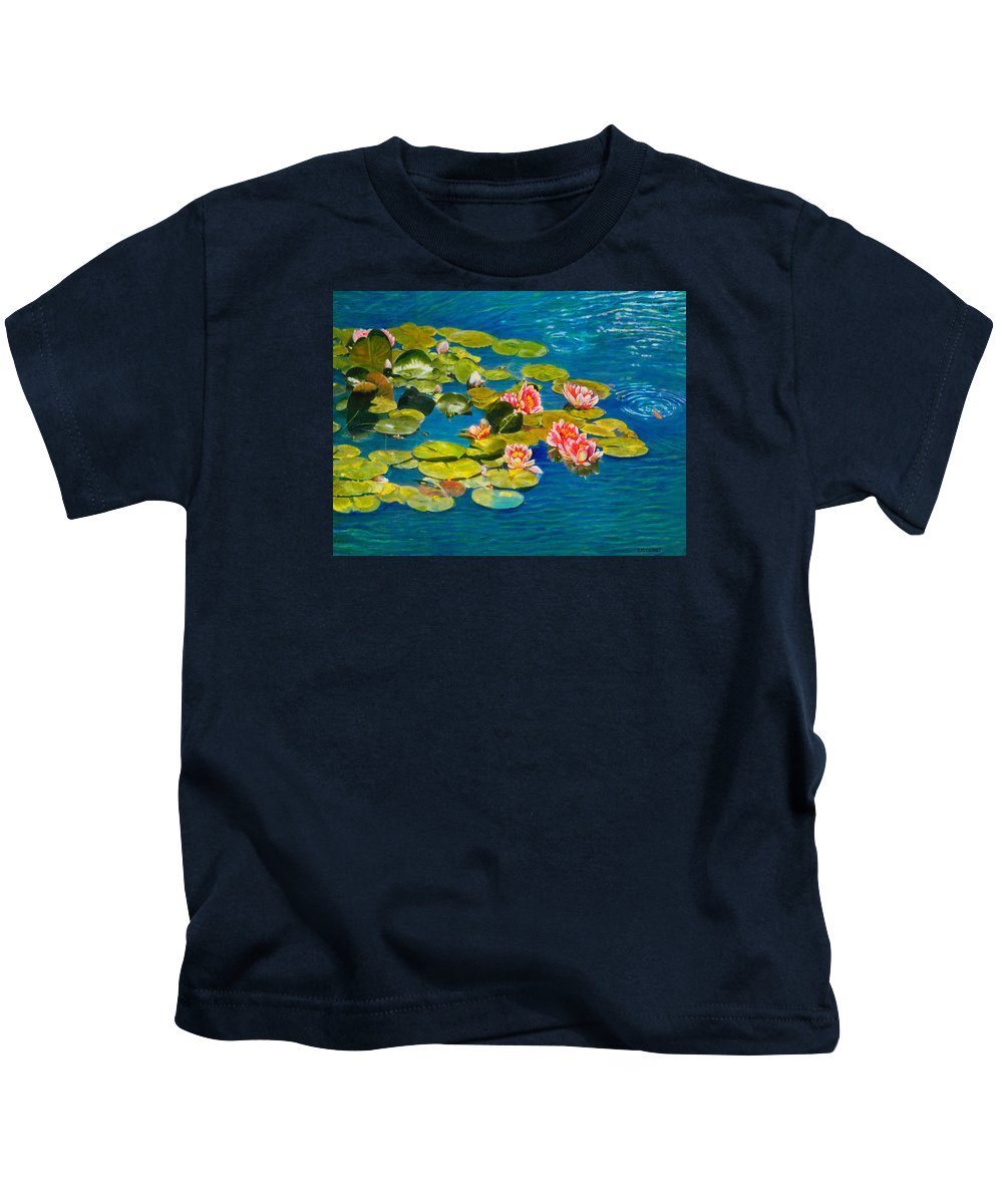 Water Lilies Kids T-Shirt featuring the painting Peaceful Belonging by Michael Durst