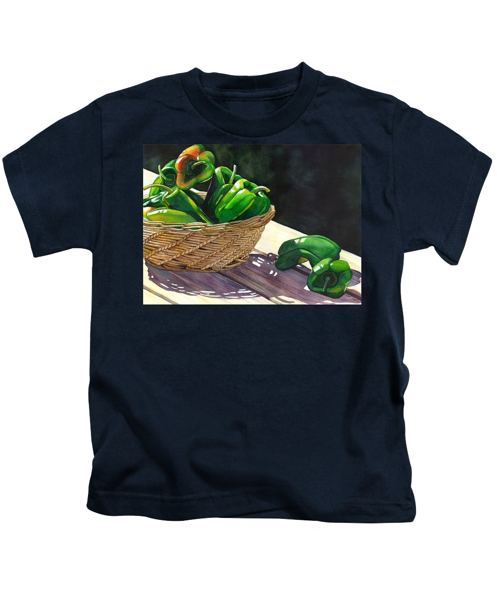 Peppers Kids T-Shirt featuring the painting Peppers by Catherine G McElroy