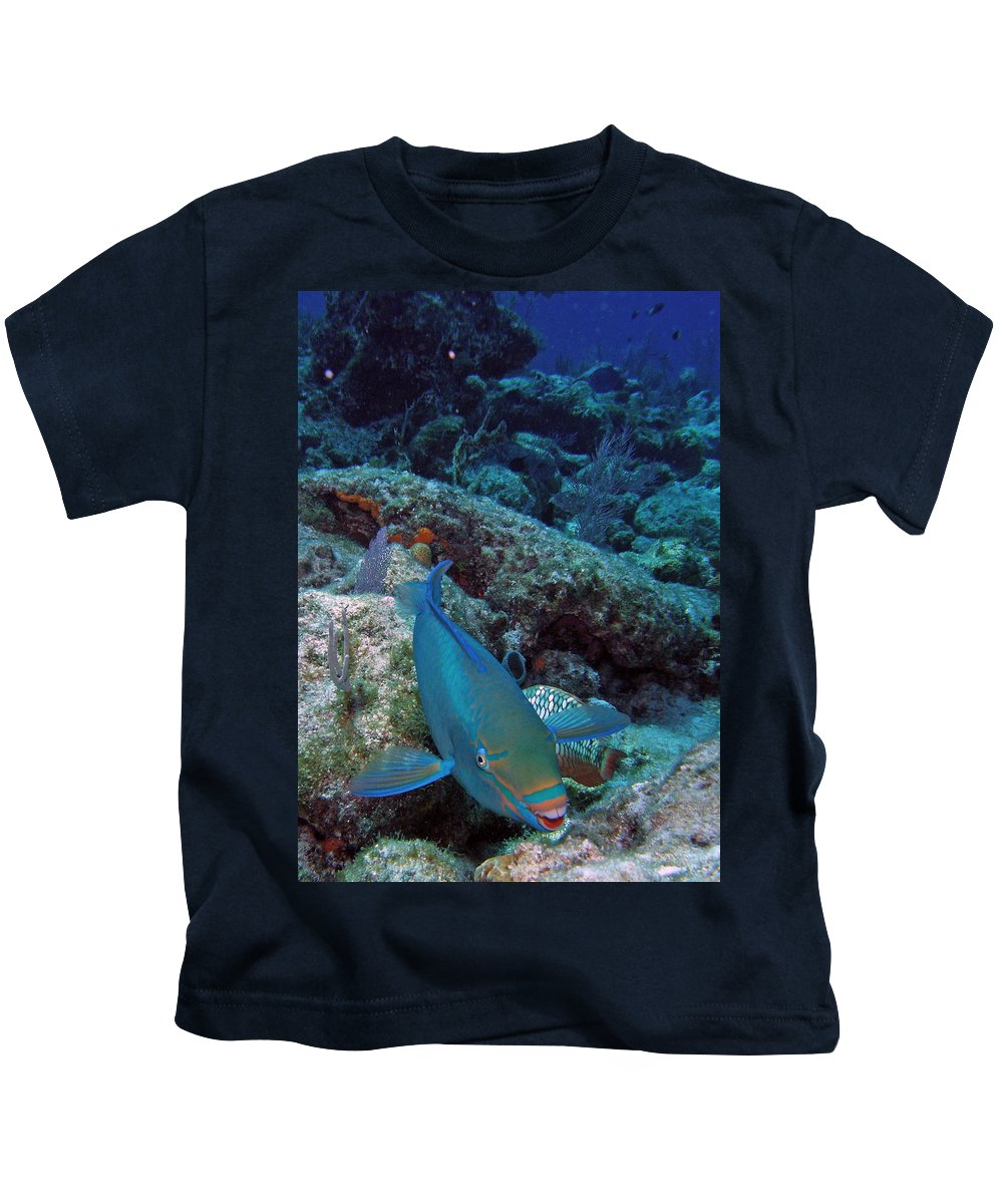 Nature Kids T-Shirt featuring the photograph Perky Parrotfish by Kimberly Mohlenhoff