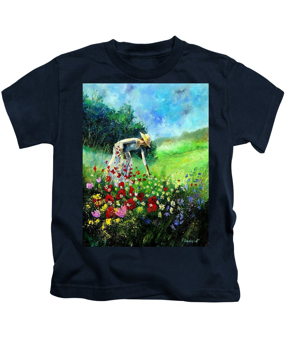 Poppies Kids T-Shirt featuring the painting Picking Flower by Pol Ledent