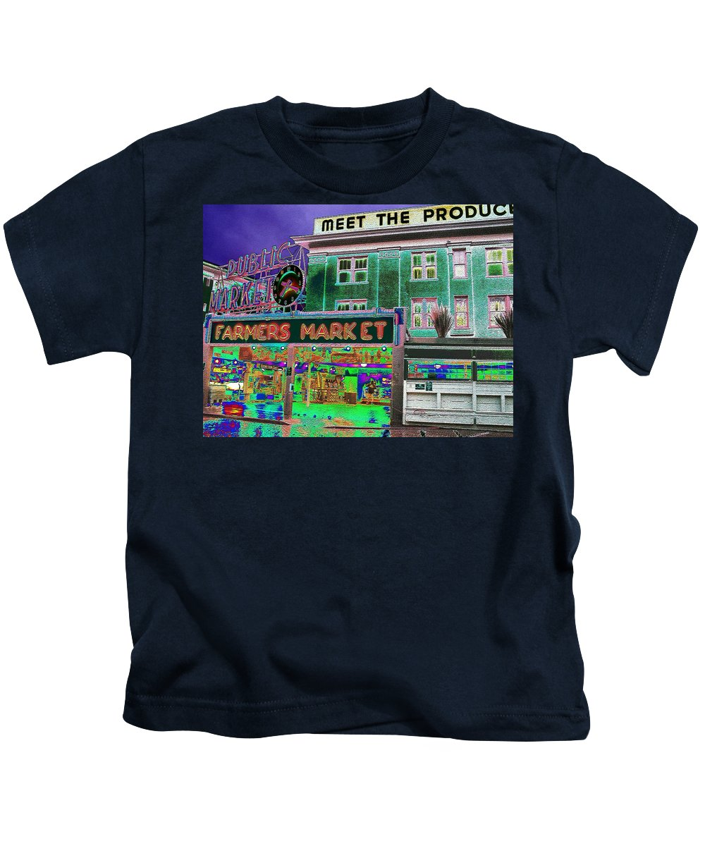 Seattle Kids T-Shirt featuring the photograph Pike Place Market by Tim Allen
