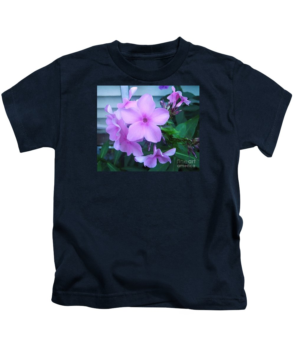 Pink Flowers Artwork Kids T-Shirt featuring the photograph Pink Flowers In The Garden by Reb Frost