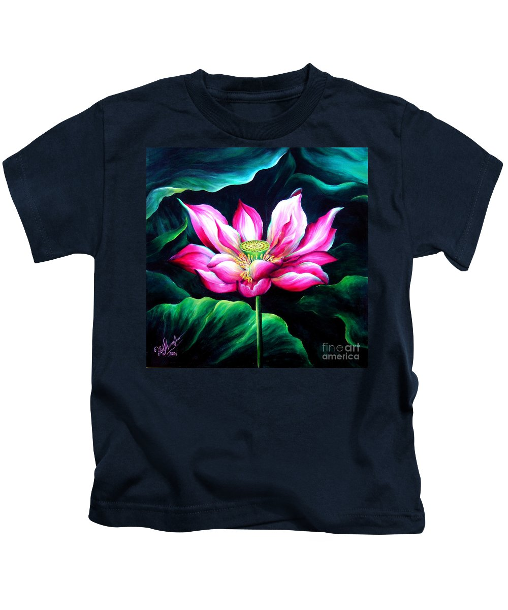 Pink Kids T-Shirt featuring the painting Pink Lotus From L.a. City Park by Sofia Metal Queen