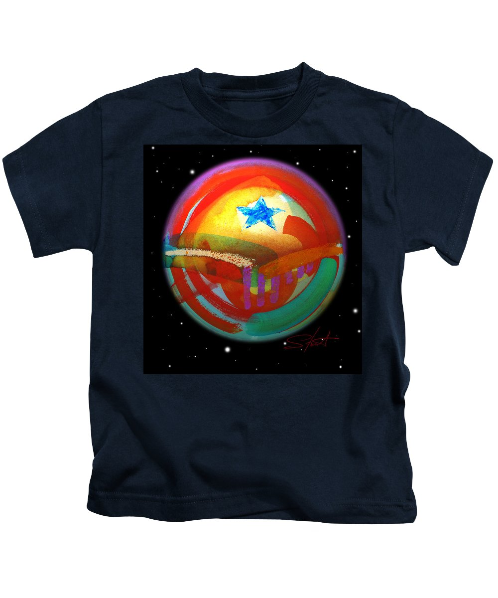 Planet Kids T-Shirt featuring the painting Planet Texas by Charles Stuart
