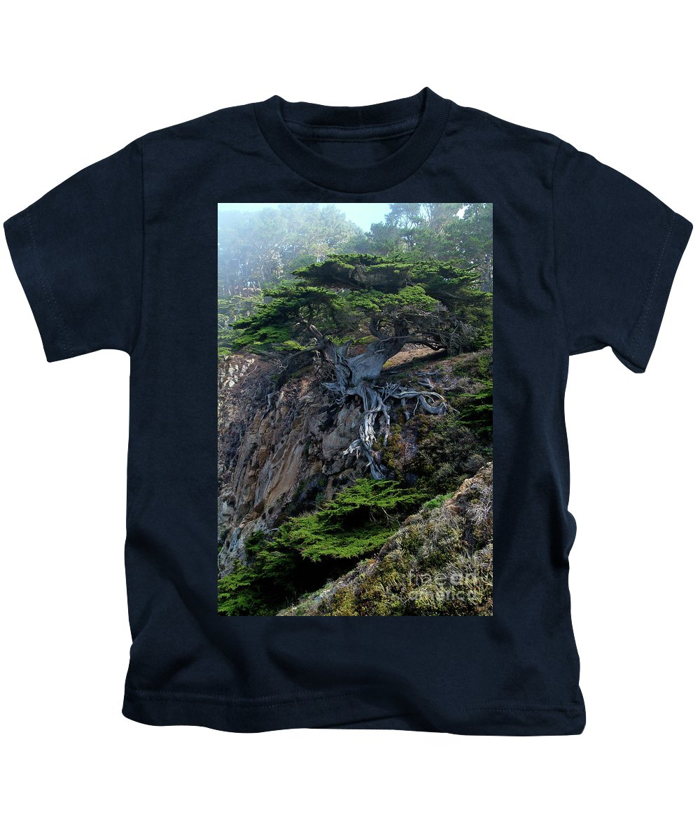 Landscape Kids T-Shirt featuring the photograph Point Lobos Veteran Cypress Tree by Charlene Mitchell