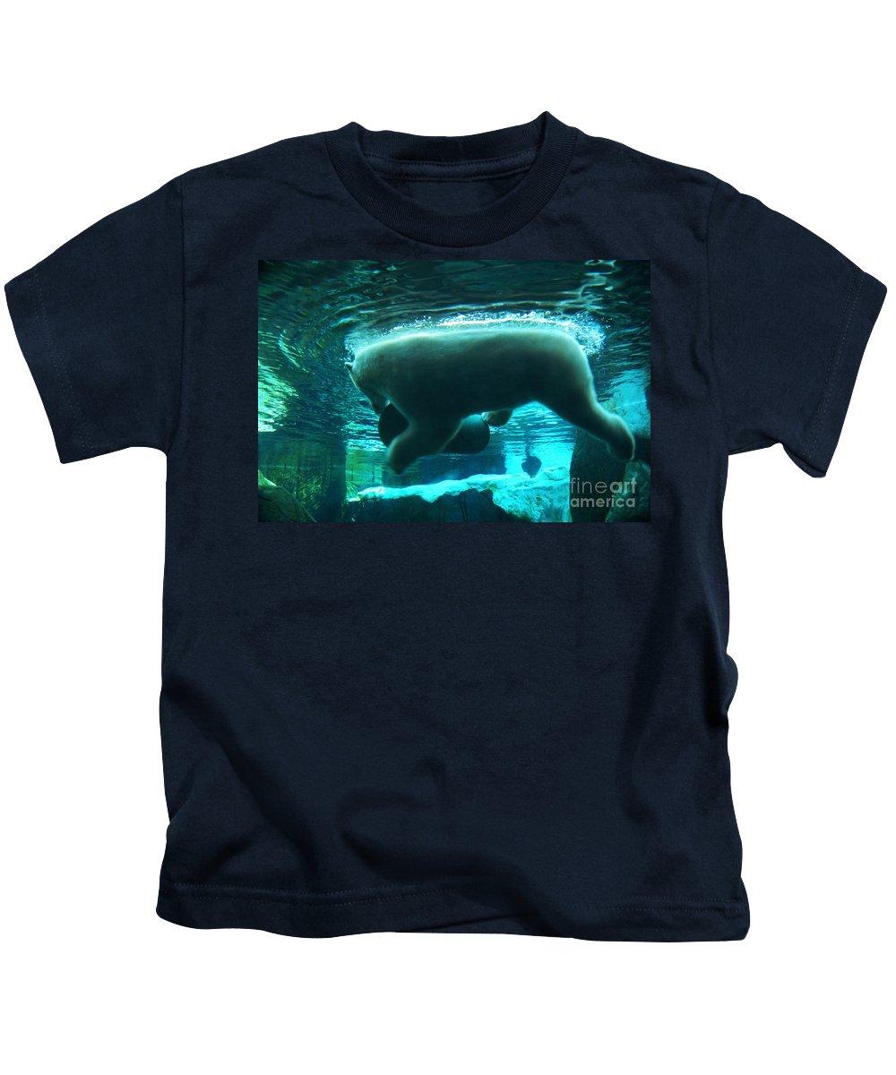 Polar-bear Kids T-Shirt featuring the photograph Polar Play by Linda Shafer