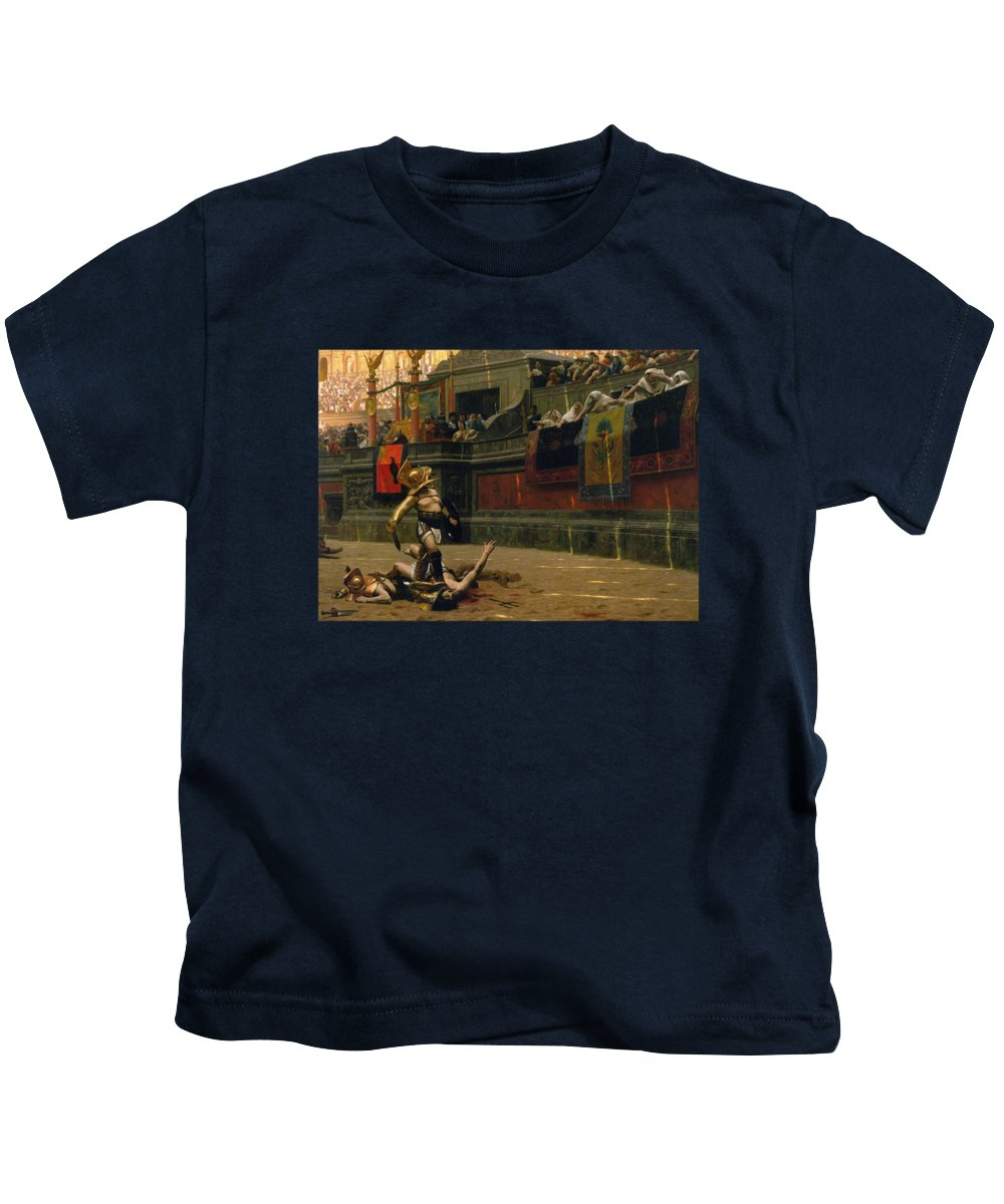 Pollice Verso Kids T-Shirt featuring the painting Pollice Verso by War Is Hell Store