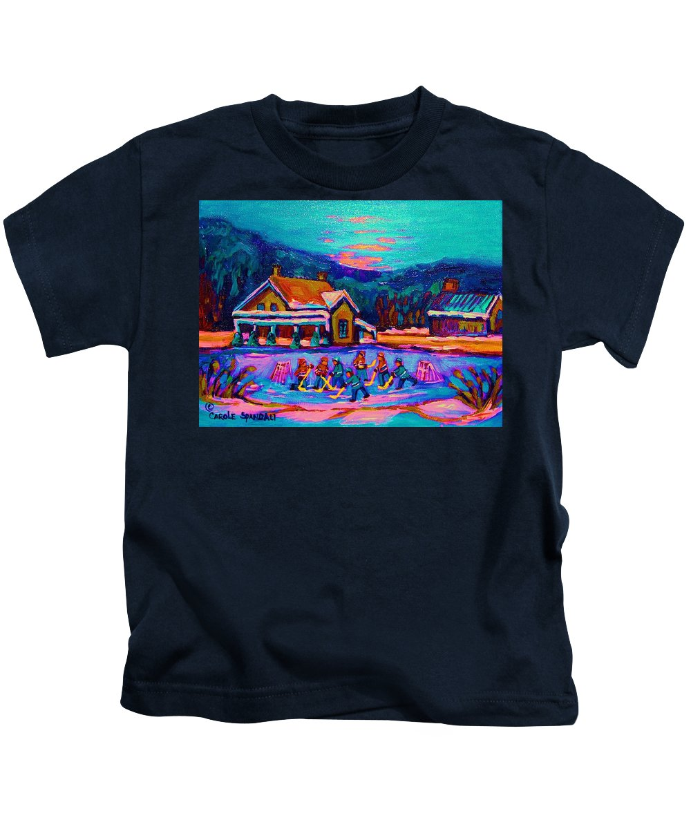 Pond Hockey Kids T-Shirt featuring the painting Pond Hockey Two by Carole Spandau
