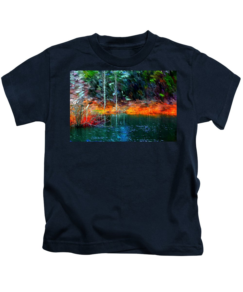 Digital Photograph Kids T-Shirt featuring the photograph Pond In The Woods by David Lane