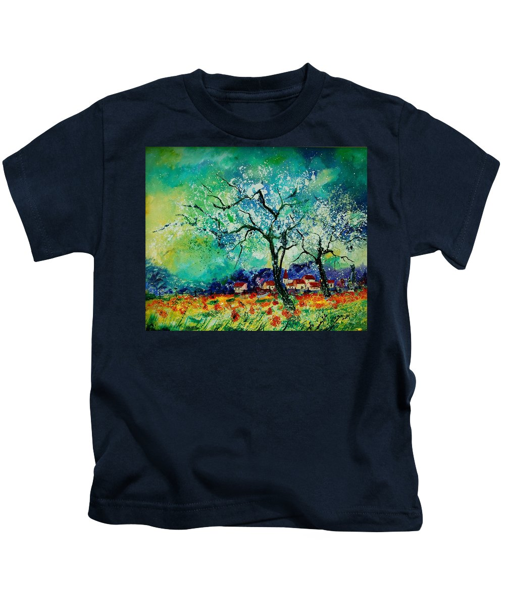 Landscape Kids T-Shirt featuring the painting Poppies and appletrees in blossom by Pol Ledent