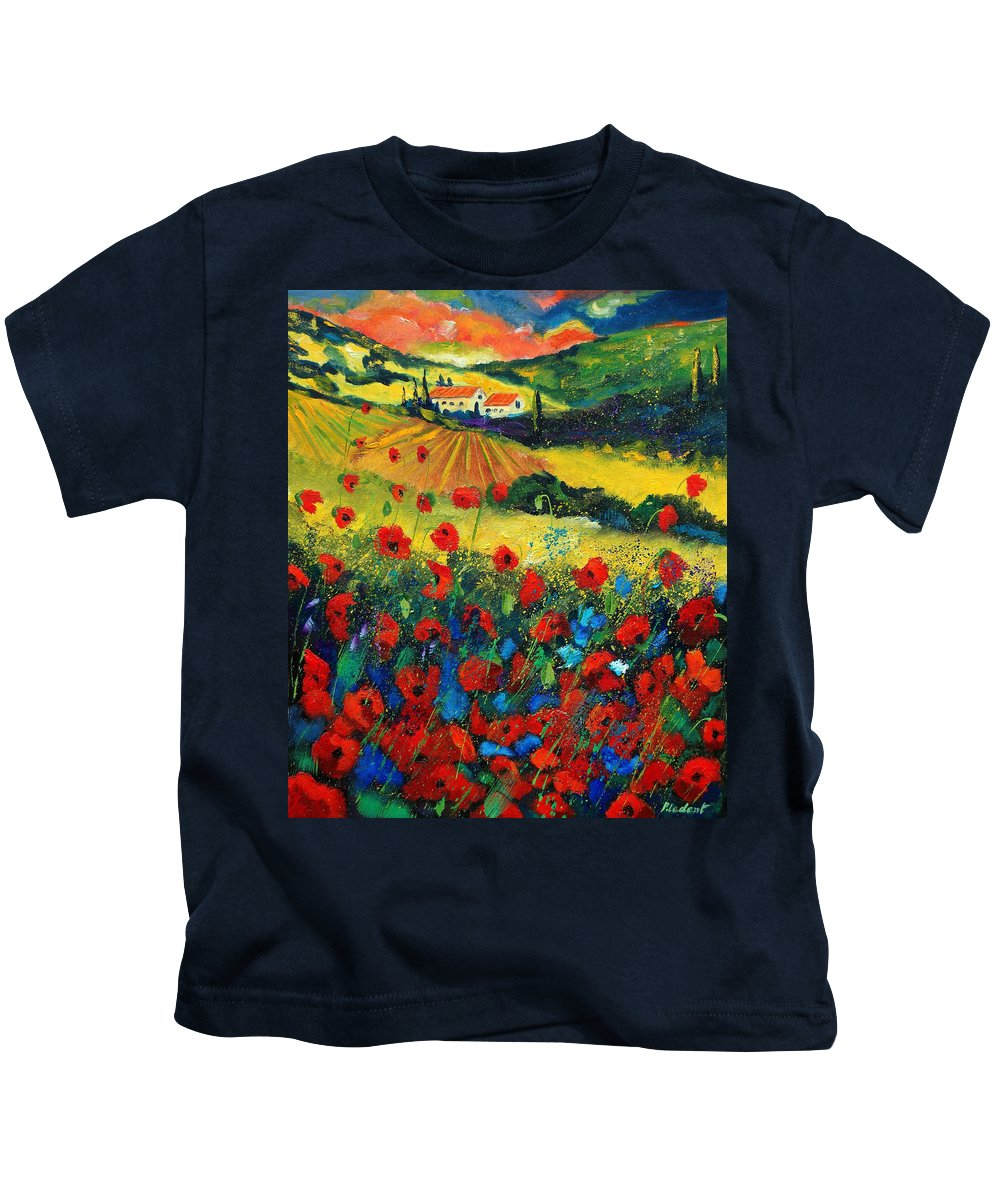 Flowers Kids T-Shirt featuring the painting Poppies In Tuscany by Pol Ledent