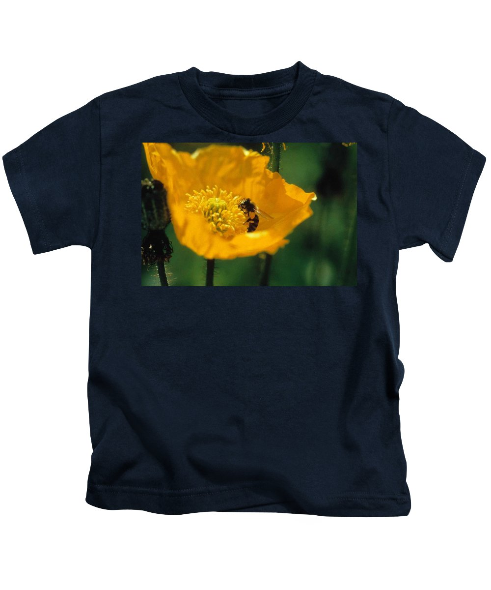 California Poppy Kids T-Shirt featuring the photograph Poppy With Bee Friend by Laurie Paci