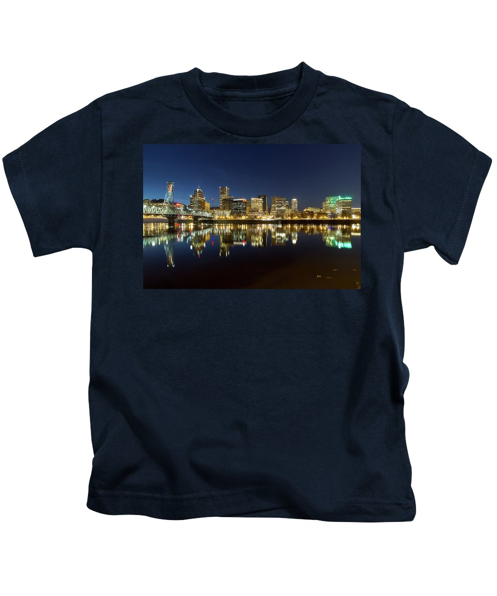Portland Kids T-Shirt featuring the photograph Portland City Skyline Reflection On Willamette River by Jit Lim