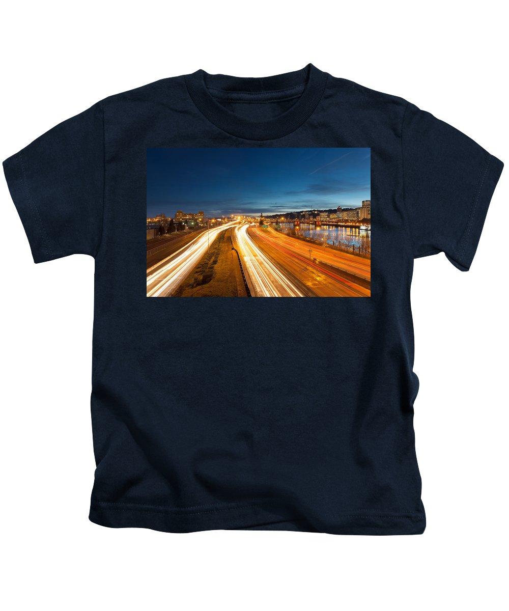 Portland Kids T-Shirt featuring the photograph Portland Oregon Interstate Freeway Light Trails by David Gn