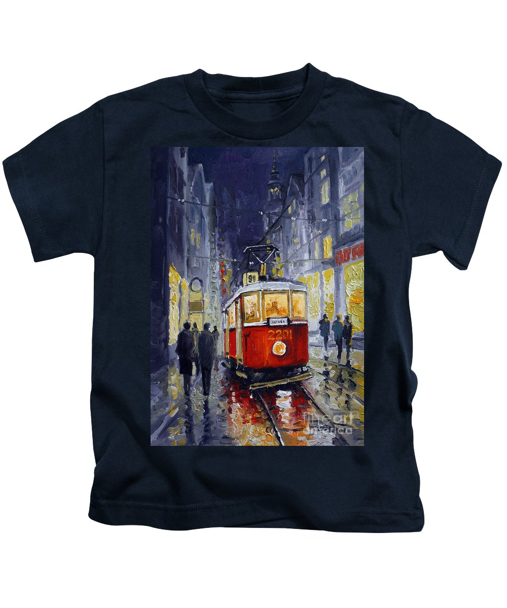 Oil Kids T-Shirt featuring the painting Prague Old Tram 06 by Yuriy Shevchuk