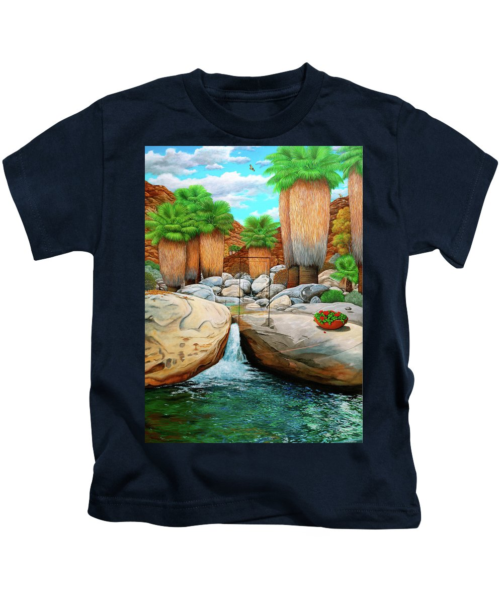 Landscape Kids T-Shirt featuring the painting Primary Escape Route by Snake Jagger