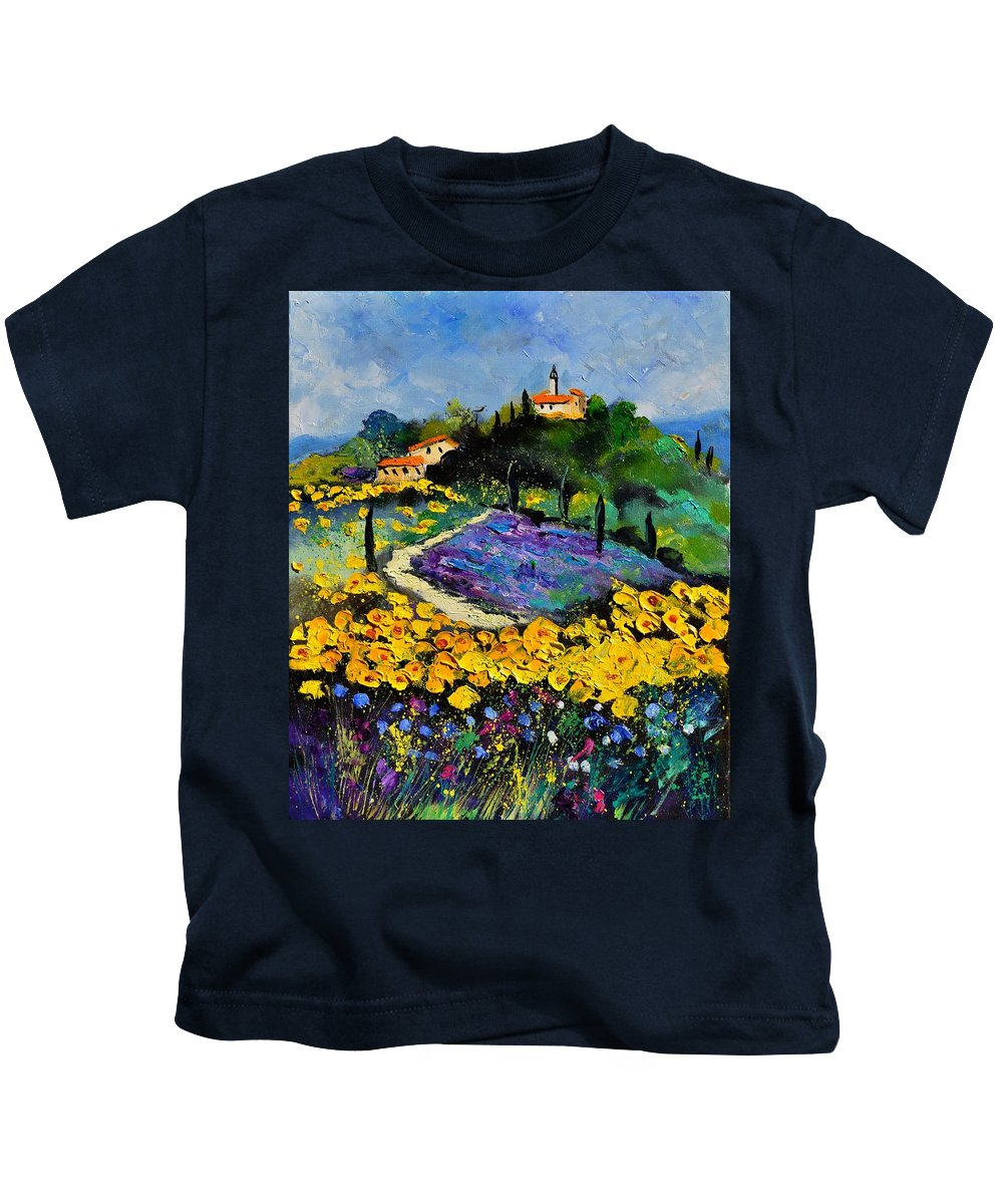 Landscape Kids T-Shirt featuring the painting Provence 561140 by Pol Ledent