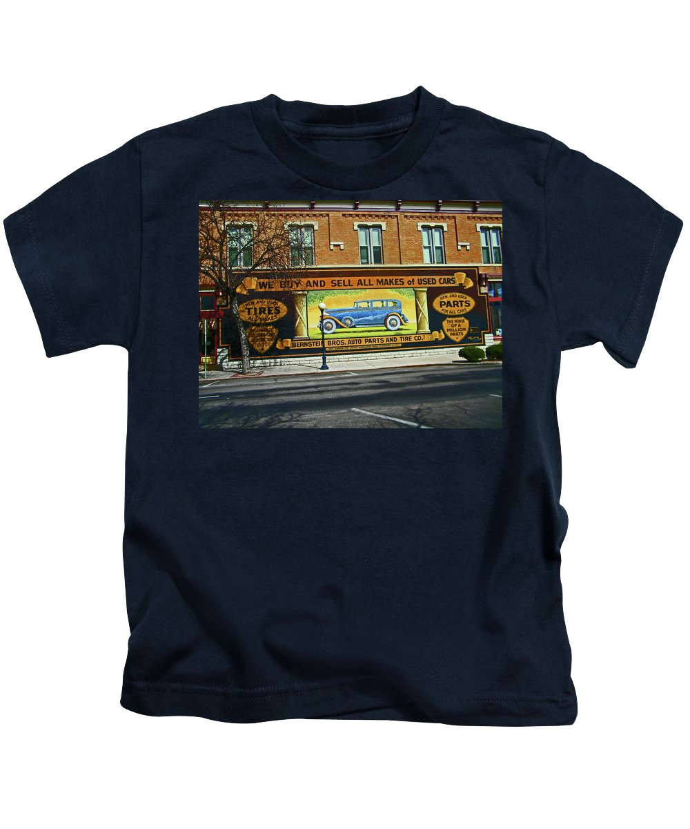 Abstract Kids T-Shirt featuring the photograph Pueblo Downtown--used Cars by Lenore Senior
