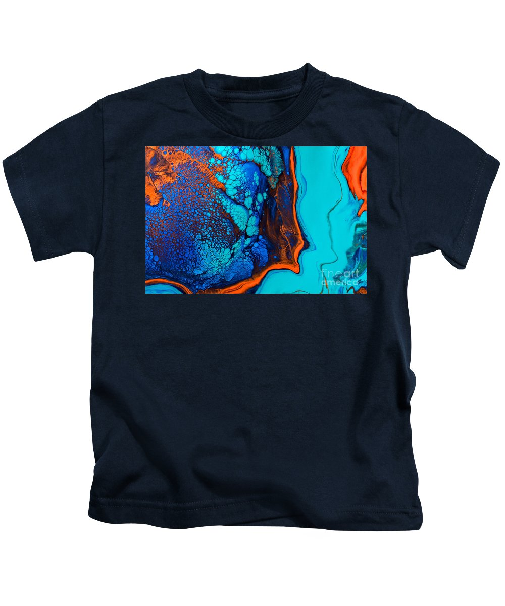 Abstract Kids T-Shirt featuring the painting Puffer Fish by Patti Schulze