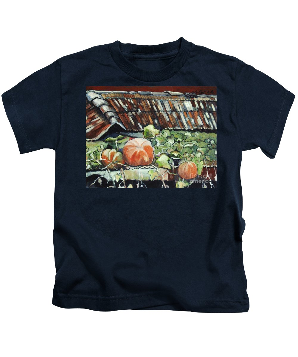 Pumpkin Paintings Kids T-Shirt featuring the painting Pumpkins On Roof by Seon-Jeong Kim