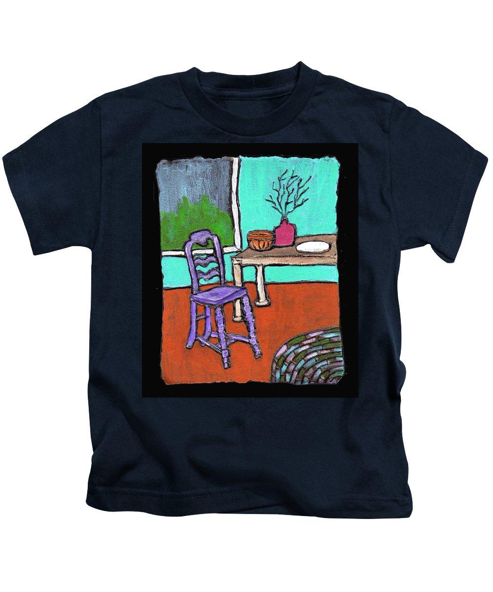 Purple Kids T-Shirt featuring the painting Purple Chair by Wayne Potrafka