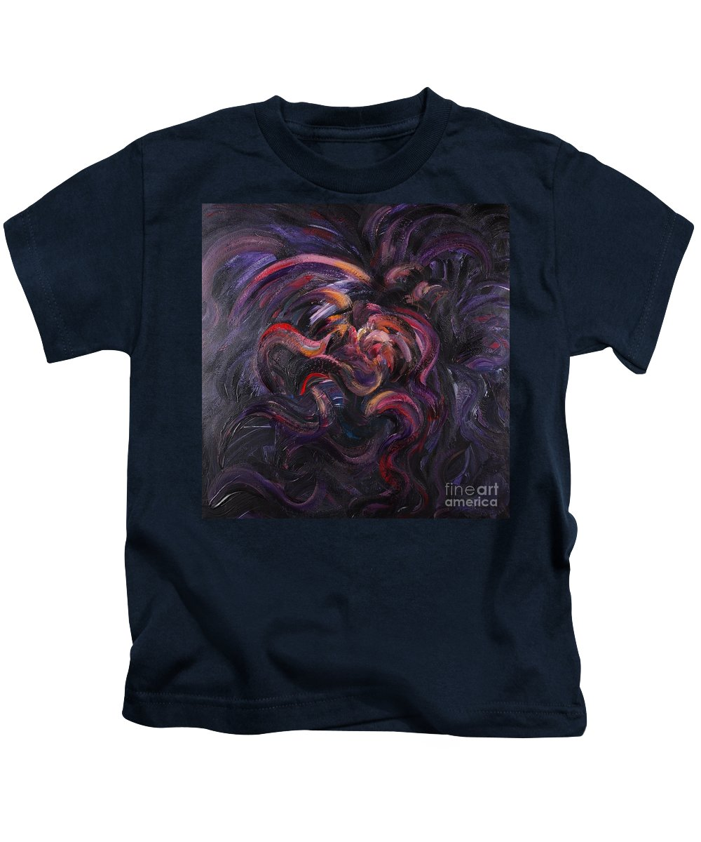 Purple Kids T-Shirt featuring the painting Purple Passion by Nadine Rippelmeyer