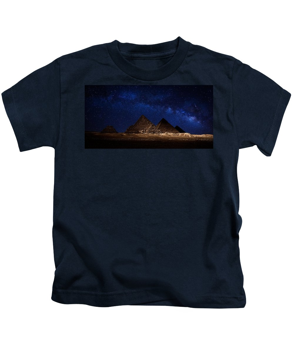 Milky Way Kids T-Shirt featuring the photograph Pyramids Milky Way by Nasser Osman
