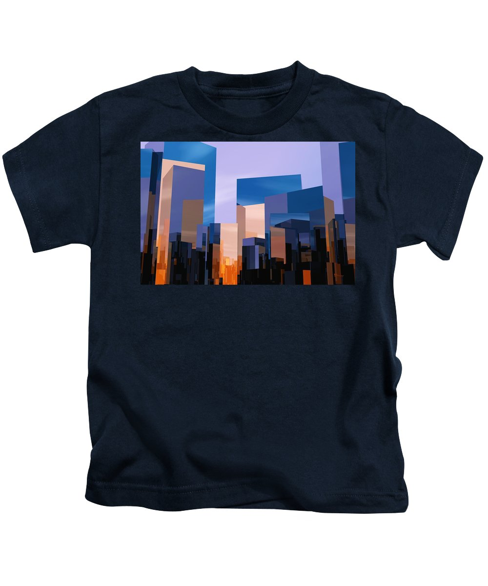 Abstractly Kids T-Shirt featuring the digital art Q-city One by Max Steinwald