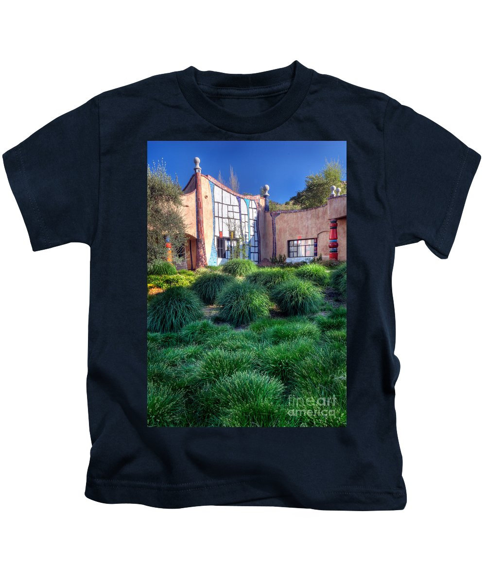 California Scenes Kids T-Shirt featuring the photograph Quixote Winery by Norman Andrus