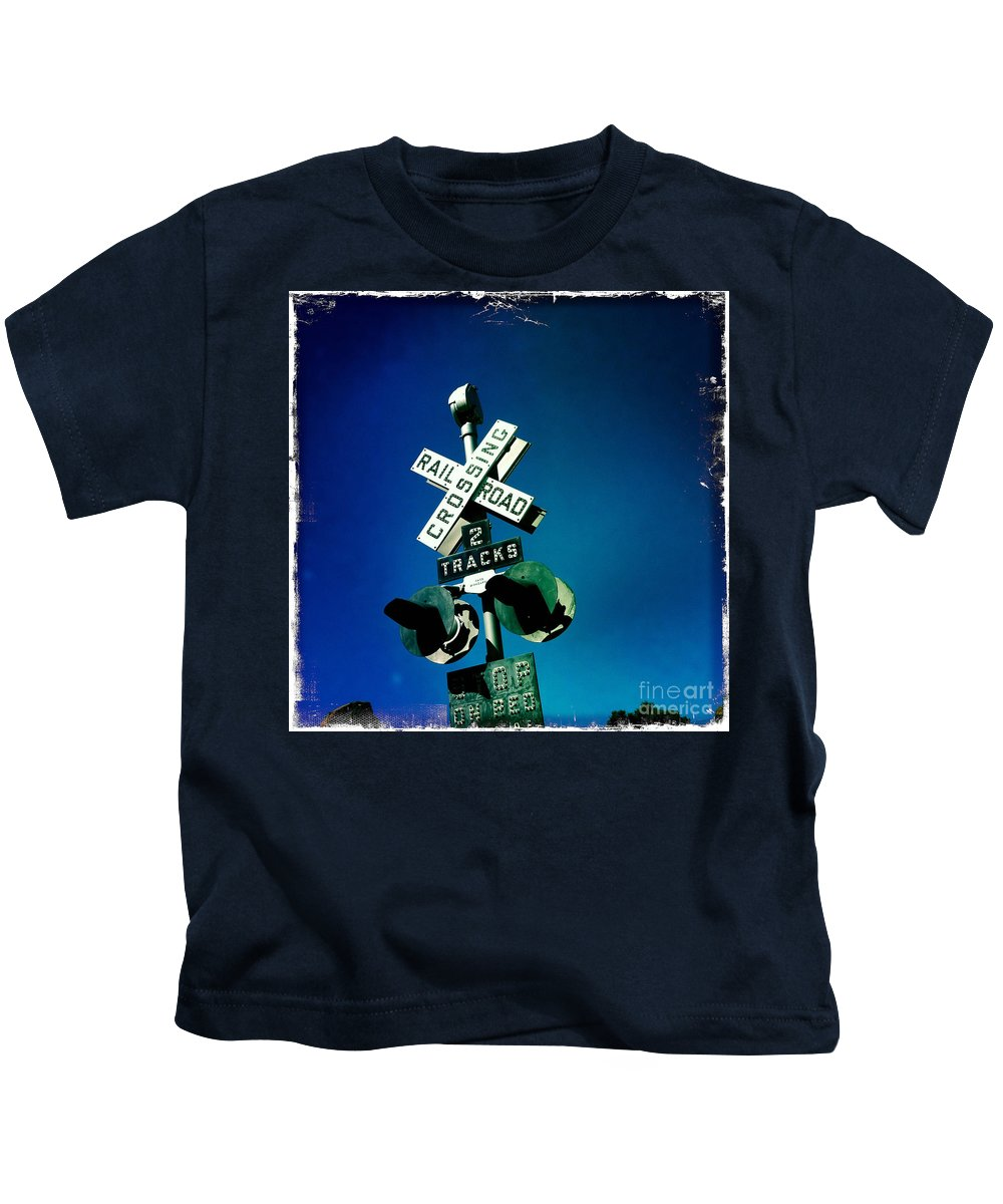Railroad Crossing Kids T-Shirt featuring the photograph Railroad Crossing by Nina Prommer