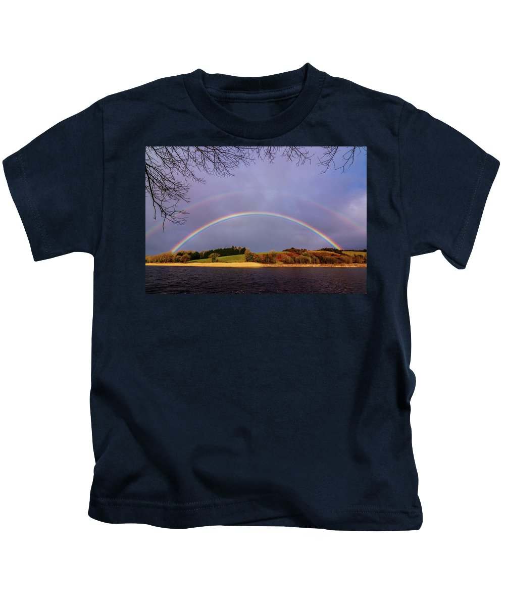 Rainbow Kids T-Shirt featuring the photograph Rainbow On The Double by Michael Kinsella