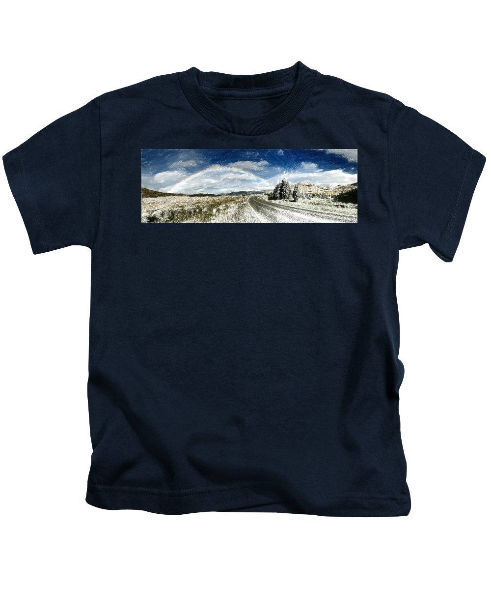 Roadway Kids T-Shirt featuring the painting Rainbow Road - Id 16217-152040-7206 by S Lurk