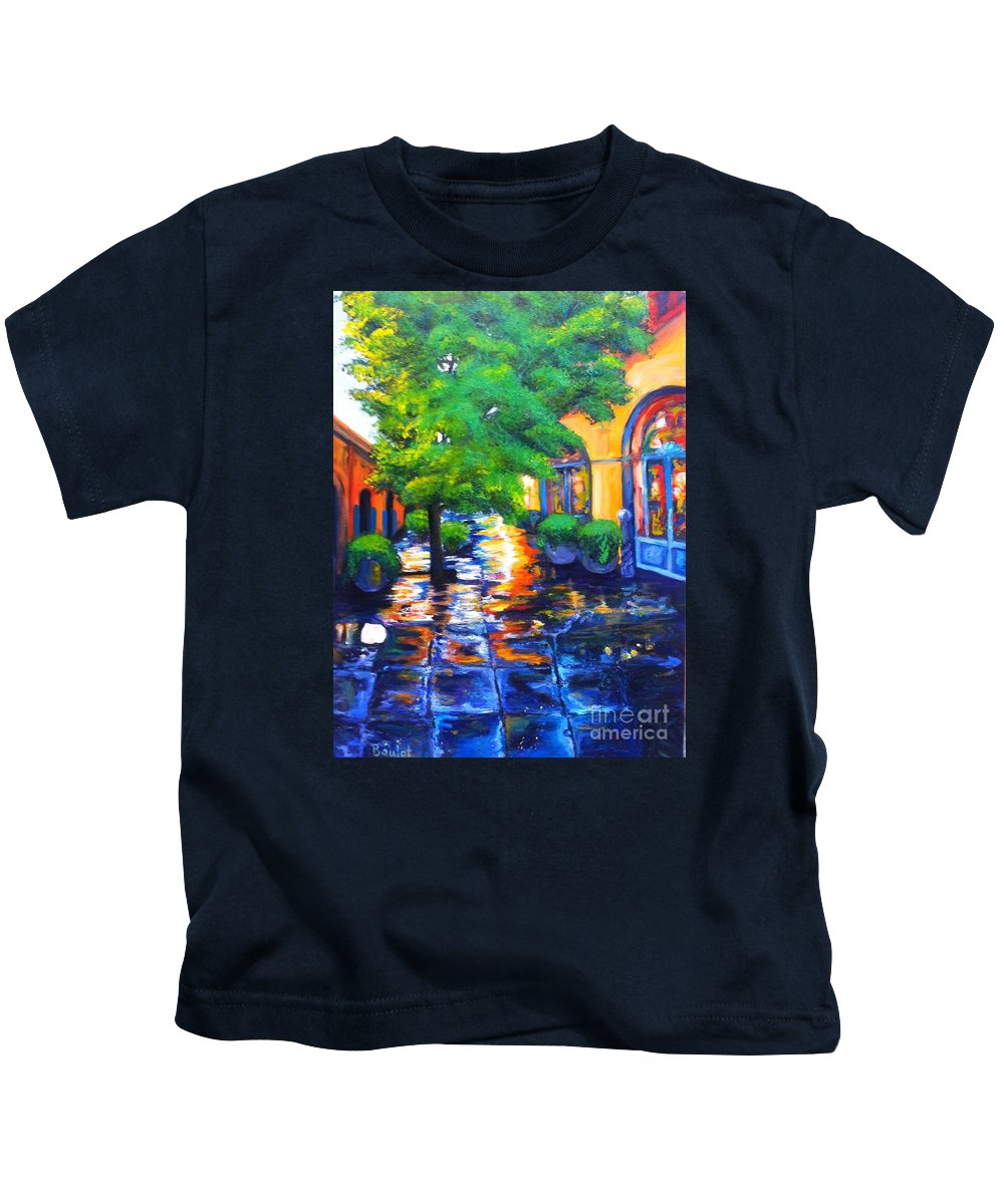 New Orleans Kids T-Shirt featuring the painting Rainy Dutch Alley by Beverly Boulet