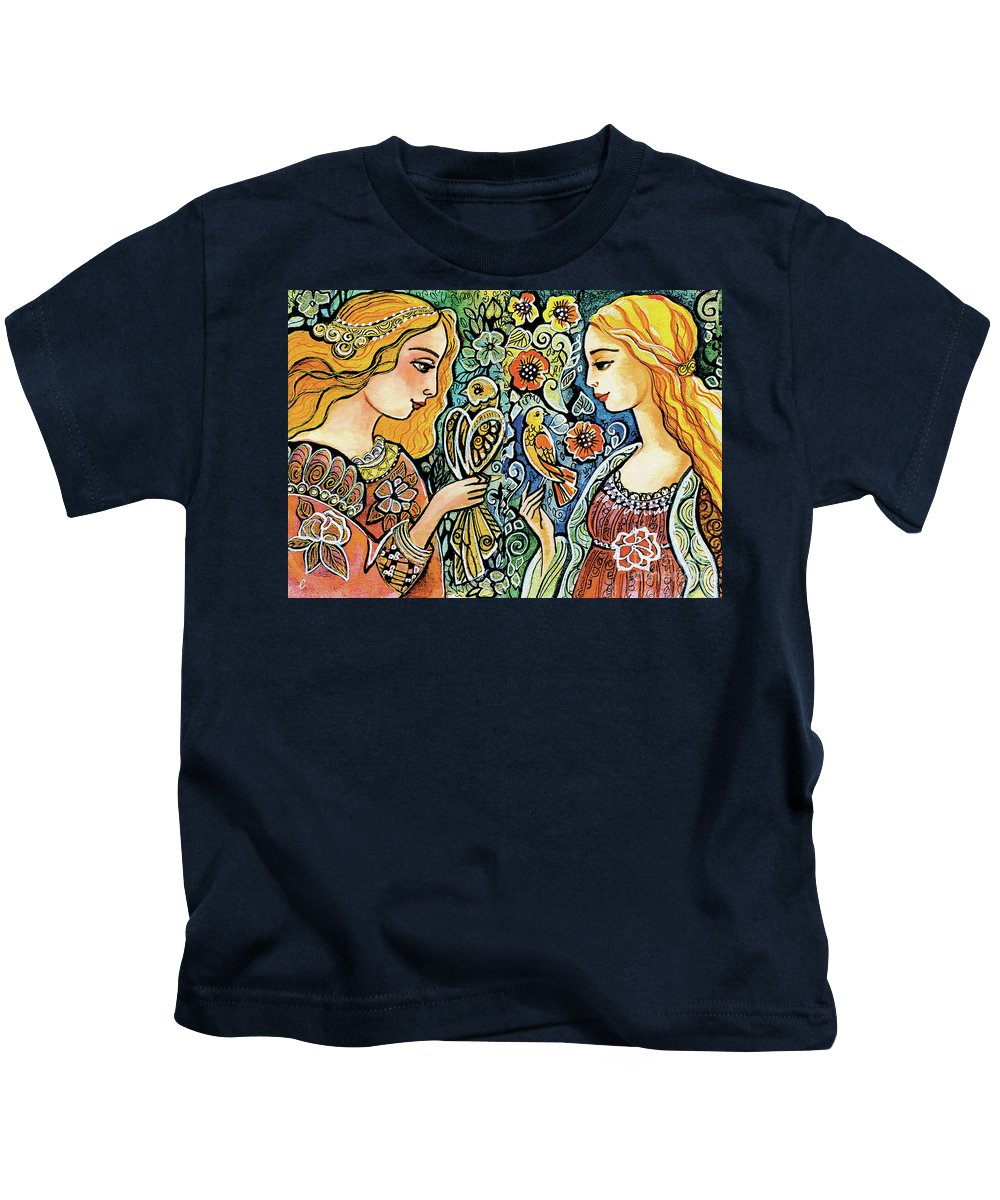 Angelic Couple Kids T-Shirt featuring the painting Raphael And Medieval Bird by Eva Campbell