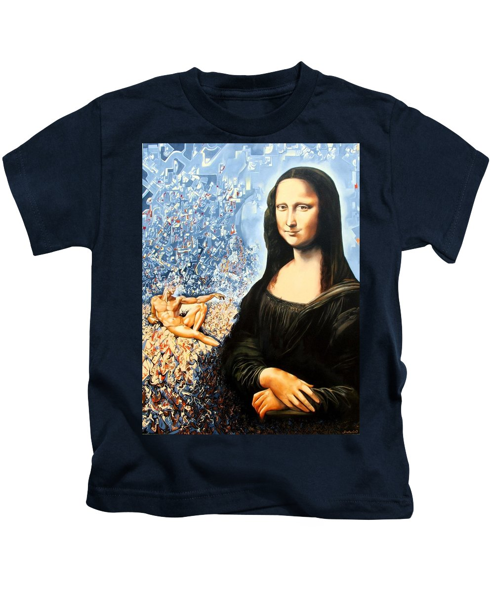 Surrealism Kids T-Shirt featuring the painting Reconstruction Of High Renaissance by Darwin Leon