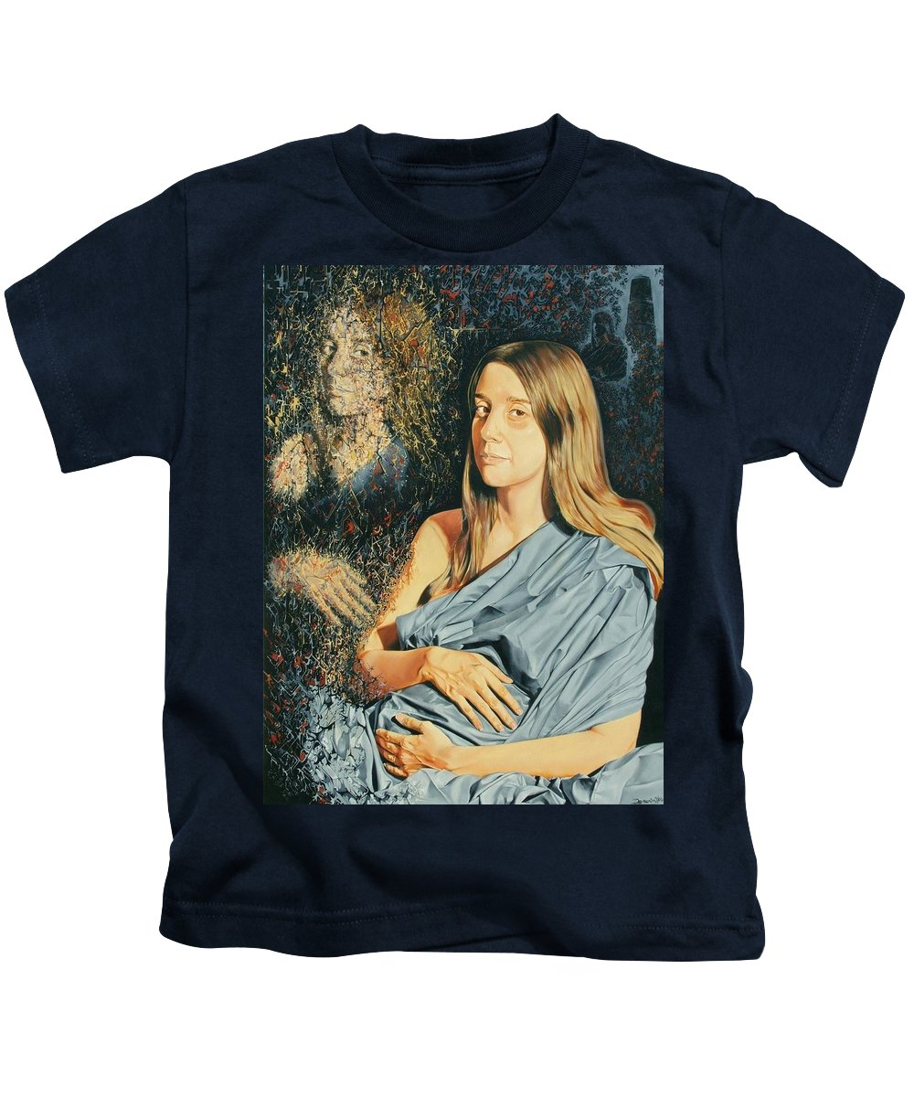 Surrealism Kids T-Shirt featuring the painting Reconstruction Of The Classical Madonna by Darwin Leon