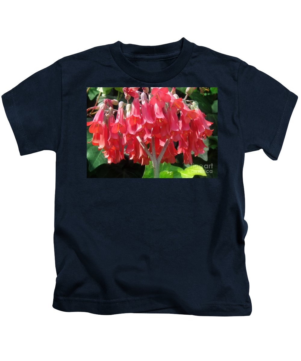Red Bell Flowers Kids T-Shirt featuring the photograph Red Bell Flowers. Sunny Spring by Sofia Metal Queen