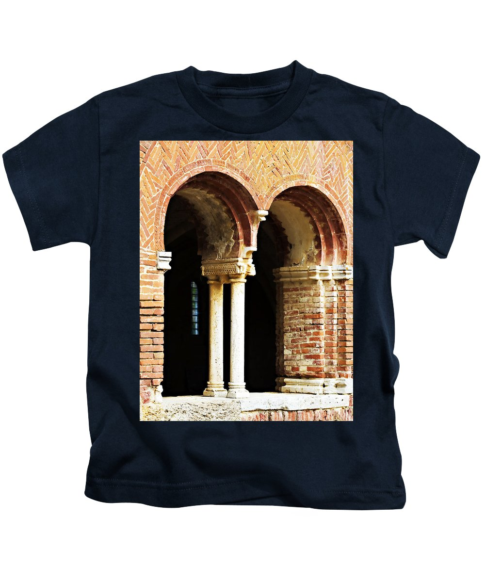 Red Kids T-Shirt featuring the photograph Red Brick Archway Soft by Marilyn Hunt