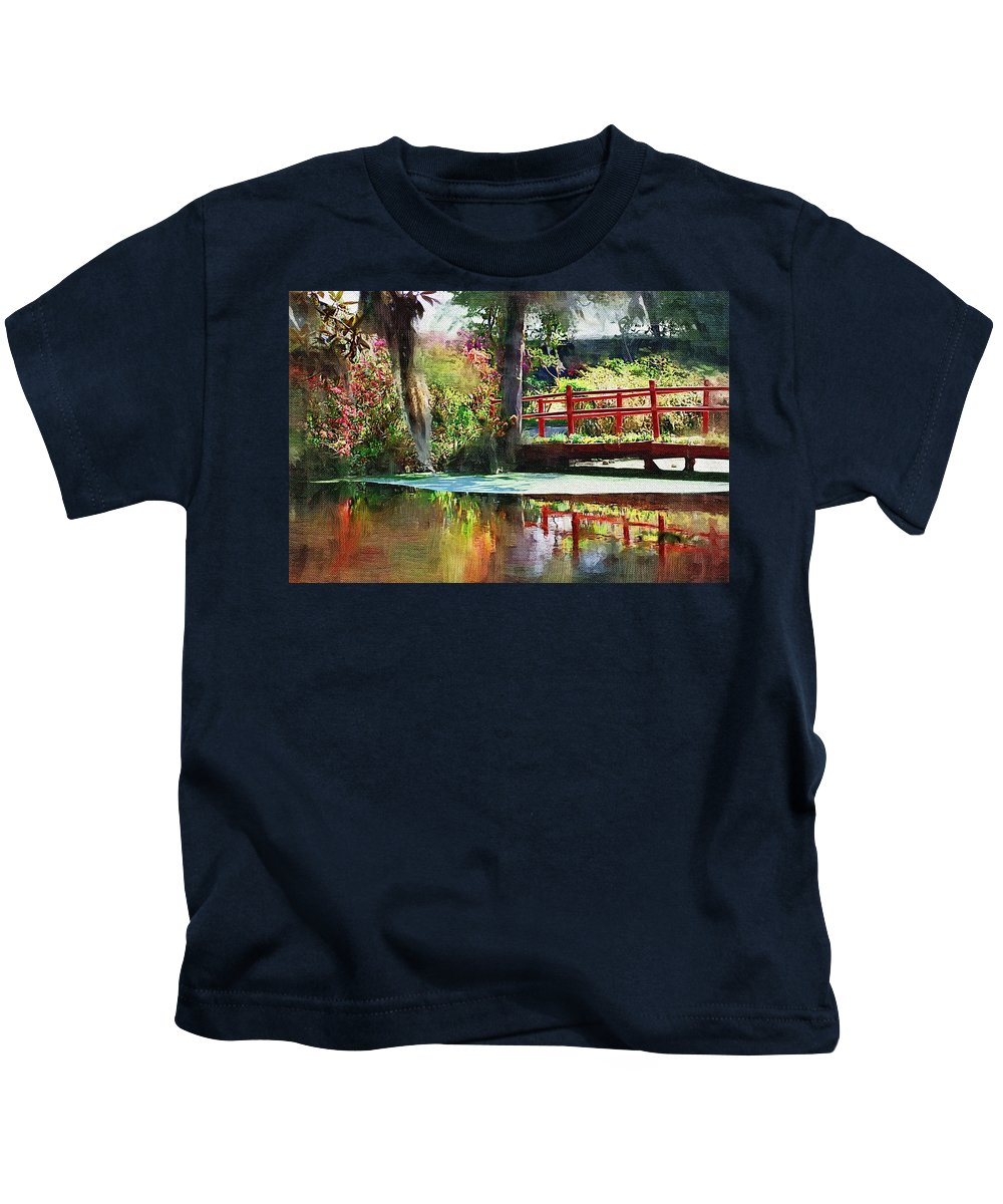 Red Bridge Kids T-Shirt featuring the photograph Red Bridge by Donna Bentley