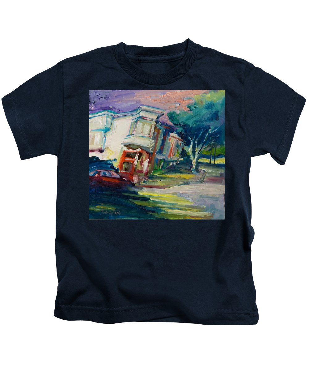 Trees Kids T-Shirt featuring the painting Red Cafe by Rick Nederlof