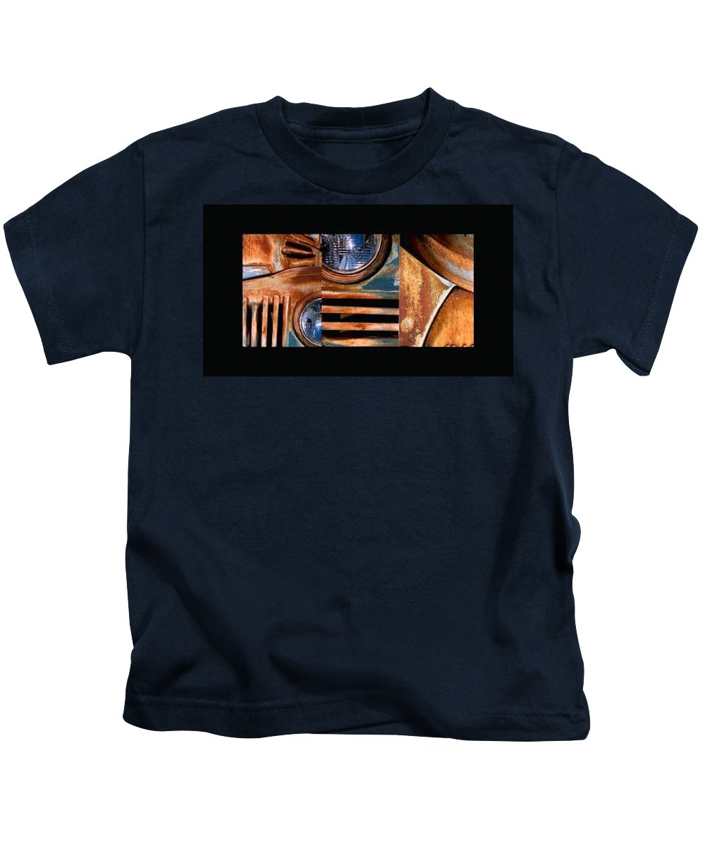 Abstract Photo Of Chevy Truck Kids T-Shirt featuring the photograph Red Head On by Steve Karol