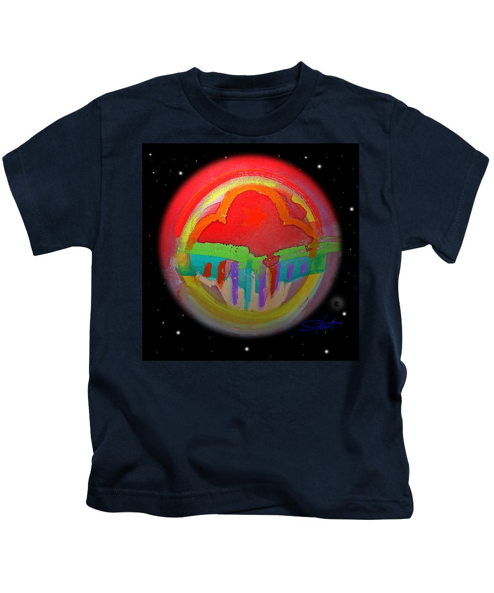 Landscape Kids T-Shirt featuring the painting Red Planet by Charles Stuart