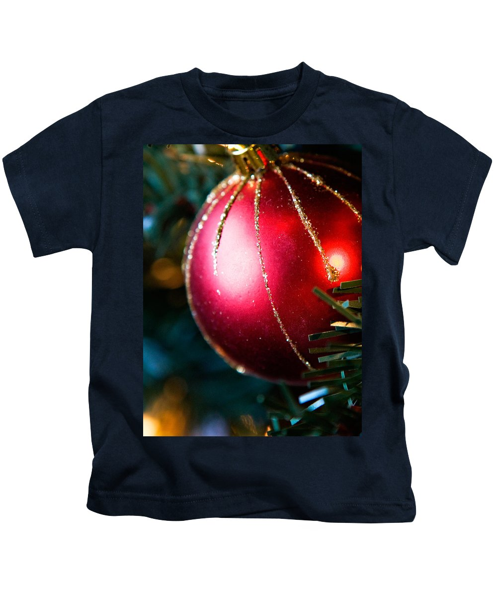 Red Kids T-Shirt featuring the photograph Red Shiny Ornament by Marilyn Hunt