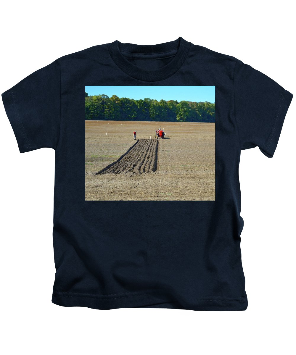 Farm Kids T-Shirt featuring the photograph Red Shirt Red Tractor Two by Lyle Crump
