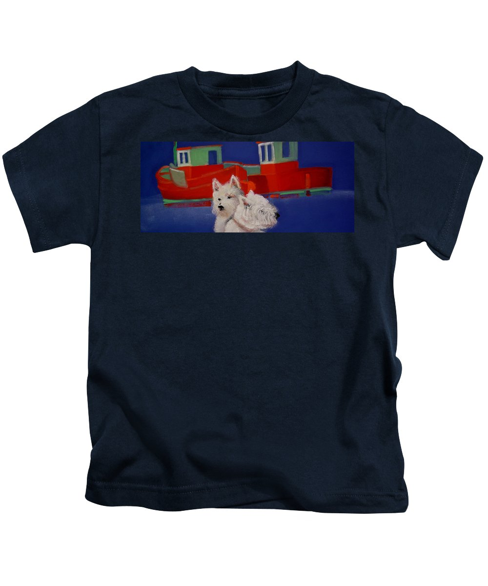 Seascapes Kids T-Shirt featuring the painting Red Trawlers by Charles Stuart