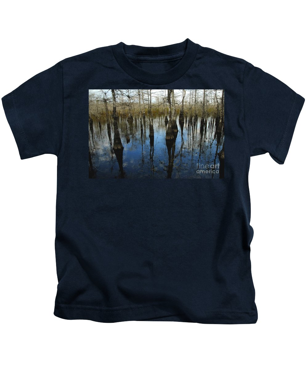 Bald Cypress Trees Kids T-Shirt featuring the photograph Reflections At Big Cypress by David Lee Thompson