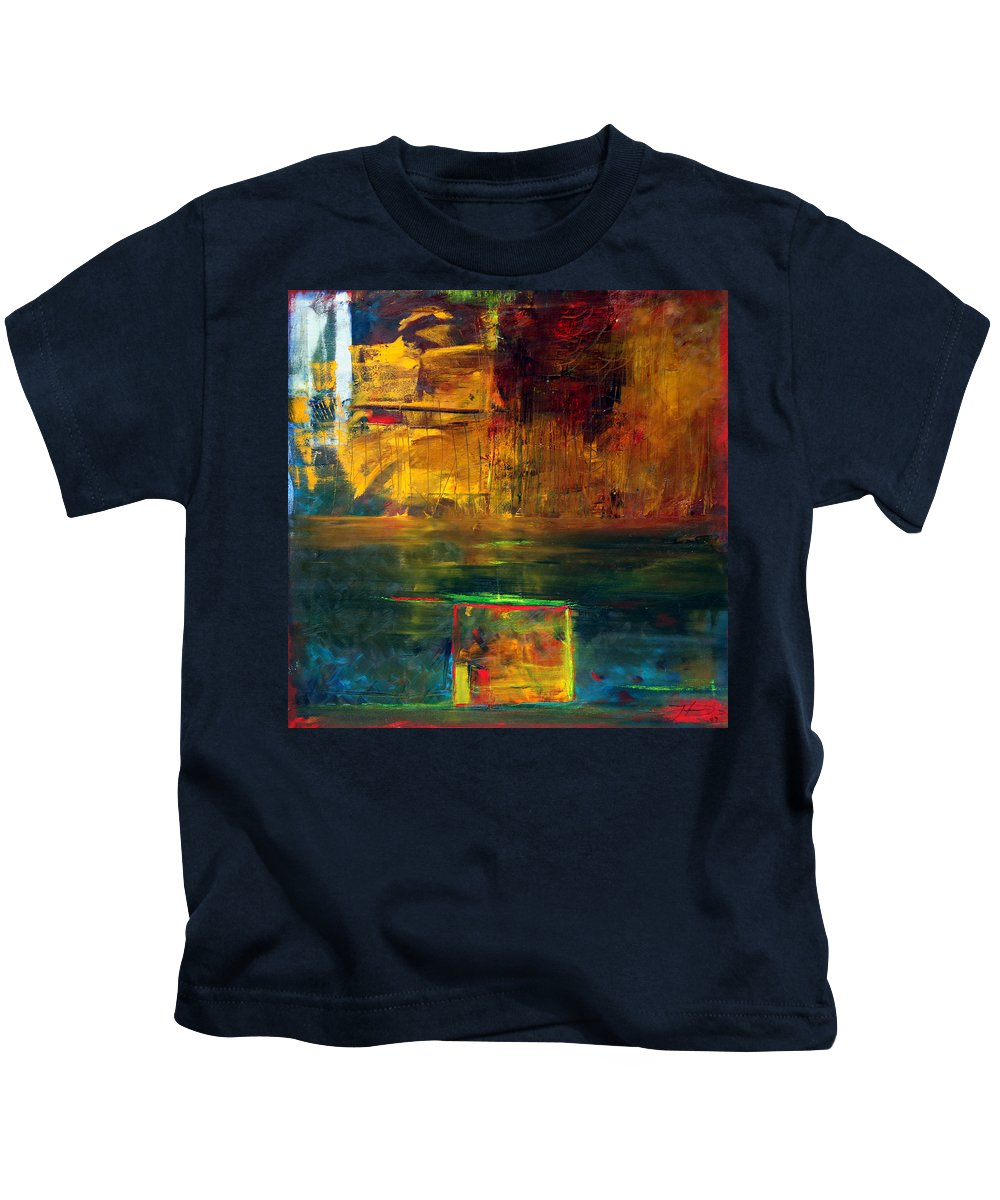 New York City Reflection Red Yellow Blue Green Kids T-Shirt featuring the painting Reflections Of New York by Jack Diamond