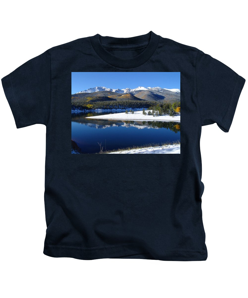 Landscape Kids T-Shirt featuring the photograph Reflections Of Pikes Peak In Crystal Reservoir by Carol Milisen