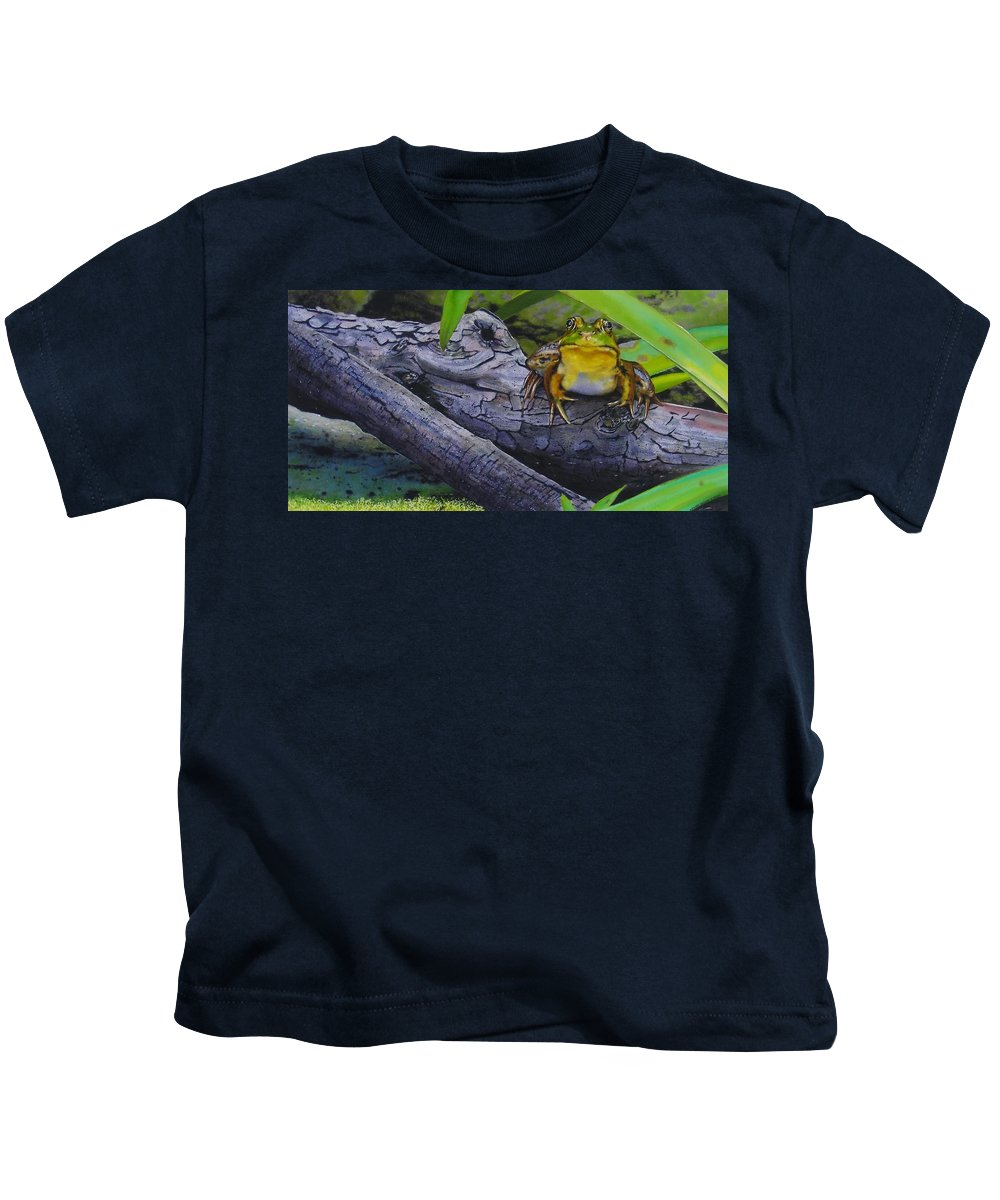 Frog Kids T-Shirt featuring the painting Restingplace by Denny Bond